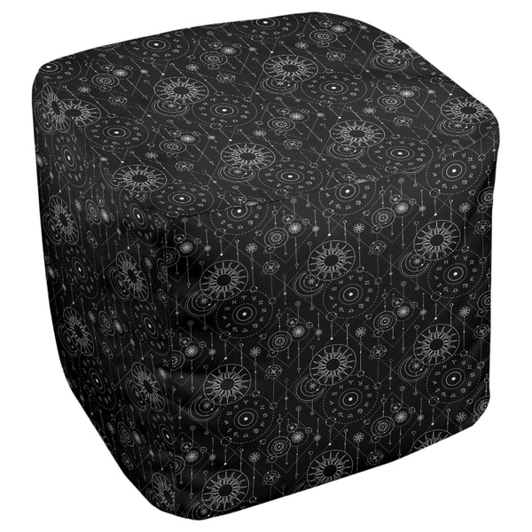Katelyn Elizabeth Black Astrology Pattern Ottoman
