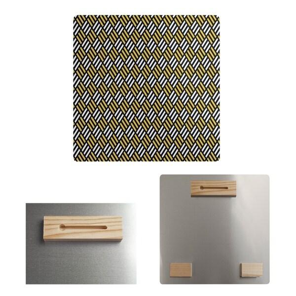 Katelyn Elizabeth Black & Yellow Stripe Diamonds Metal Print
