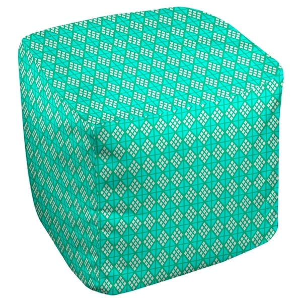 Katelyn Elizabeth Green with Teal Diamonds Ottoman
