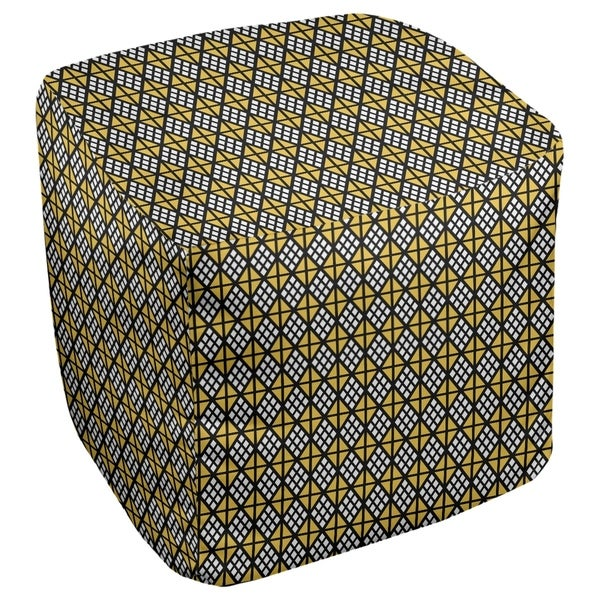 Katelyn Elizabeth Black & Yellow Diamonds Ottoman