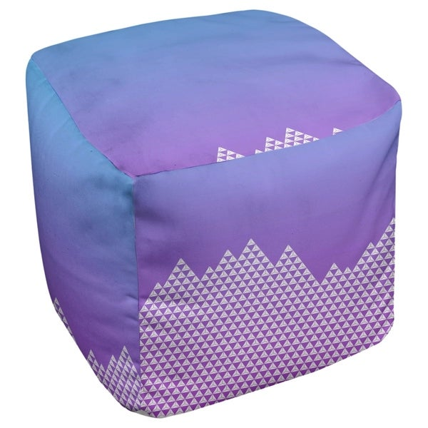 Katelyn Elizabeth Blue & Purple Mountain Pattern Ottoman