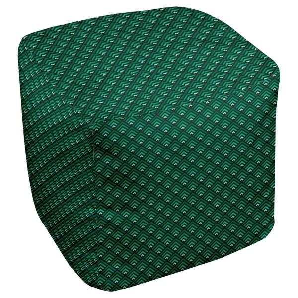 Katelyn Elizabeth Black & Green Ombre Geometric Pattern Ottoman