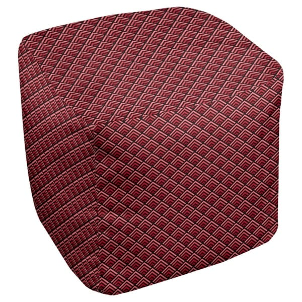 Katelyn Elizabeth Black & Red Reverse Ombre Geometric Pattern Ottoman