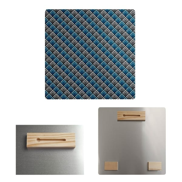 Katelyn Elizabeth Blue Stripe Reverse Ombre Geometric Pattern Metal Print