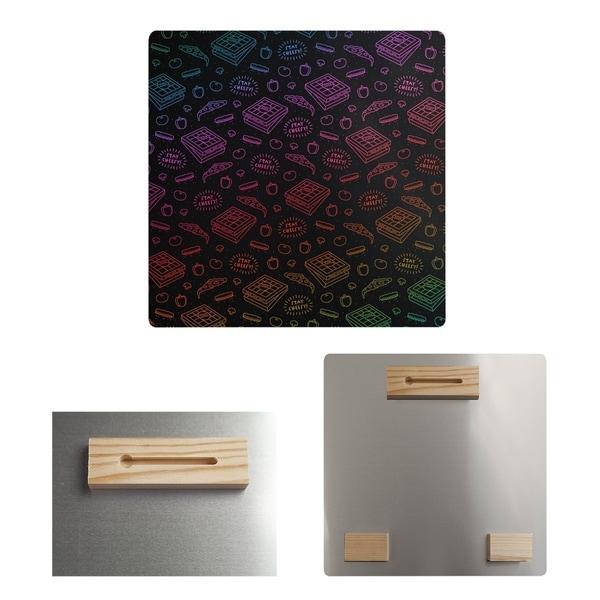 Katelyn Elizabeth Black & Rainbow Pizza Pattern Metal Print