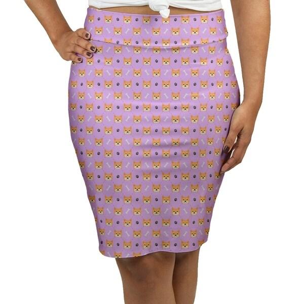 23decbcd06 Katelyn Elizabeth Lavender Shiba Inu Pattern Women's Pencil Skirt -  Fasheen