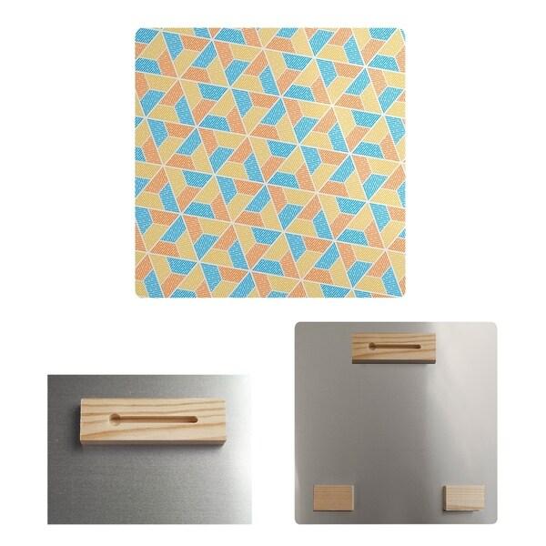 Katelyn Elizabeth Blue Orange & Yellow Trapezoids Metal Print