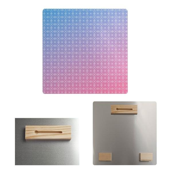 Katelyn Elizabeth Blue & Pink Doily Pattern Metal Print