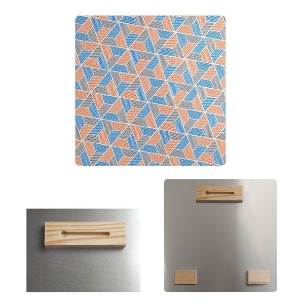Katelyn Elizabeth Blue Orange & Gray Trapezoids Metal Print