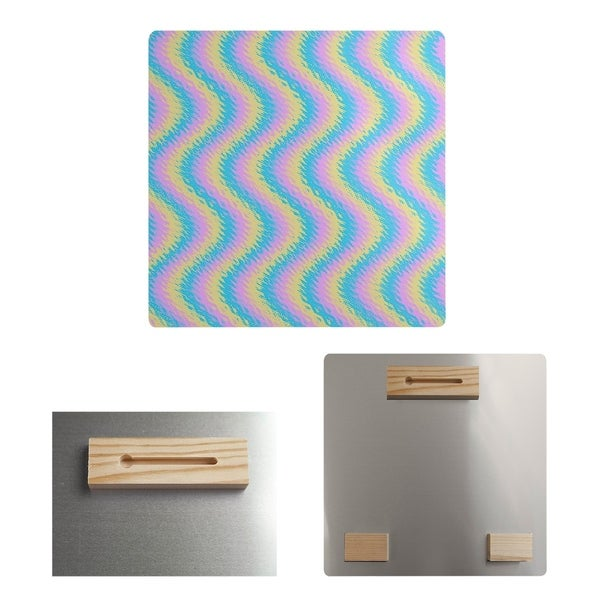 Katelyn Elizabeth Multicolor Pastel Wavy Stripe Pattern Metal Print