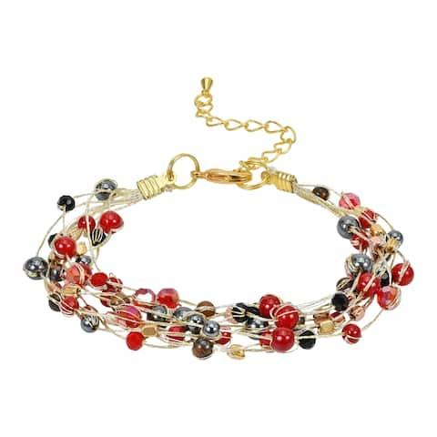 Handmade Colorful Stands Stone and Crystals on Silk Thread Statement Bracelet (Thailand)