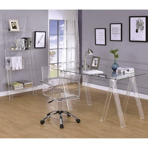 Modern Design Home Office Collection Glass Desk with Acrylic Chair and Bookcase