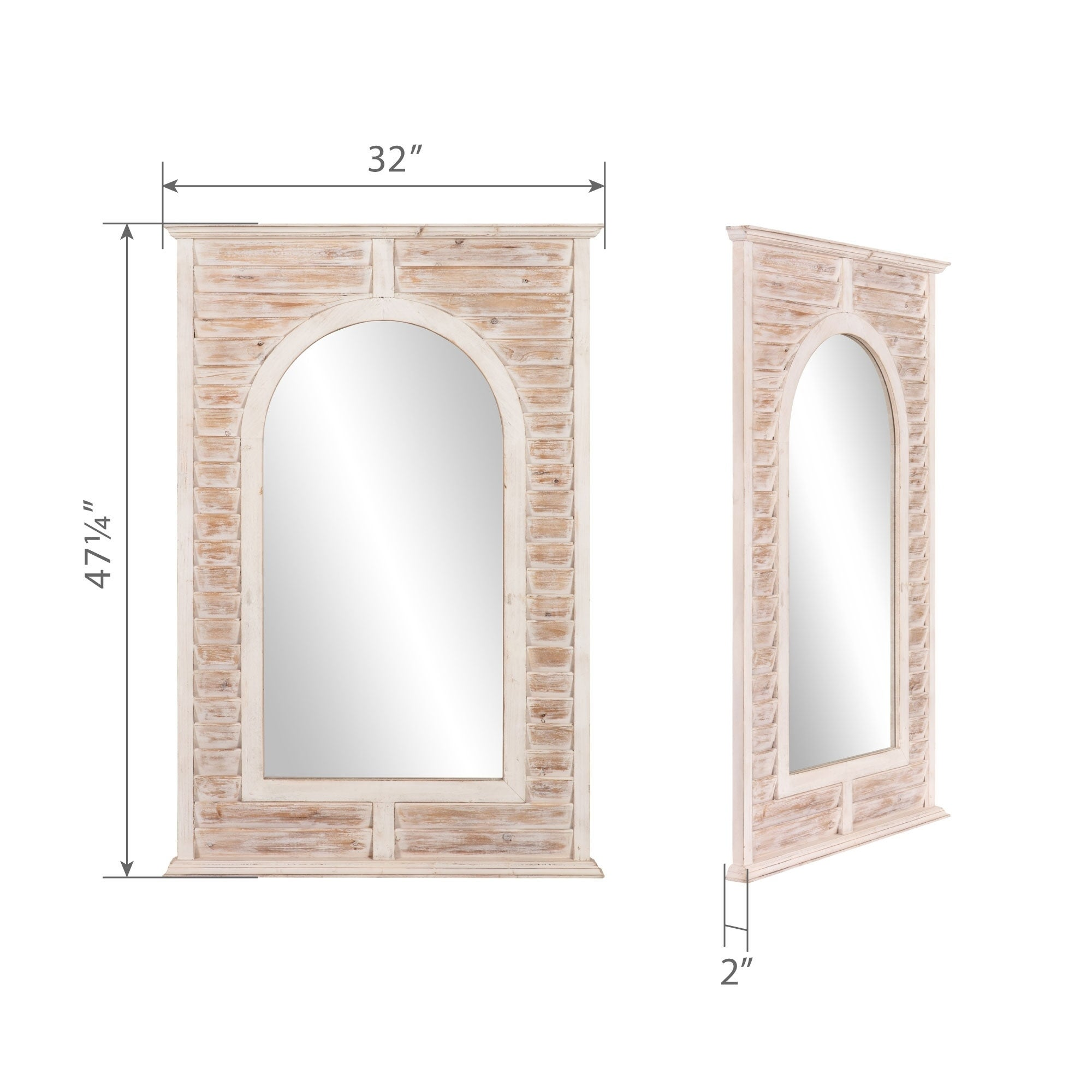 Patton Wall Decor 32x47 Antique Window Shutter Arch Wall Mirror