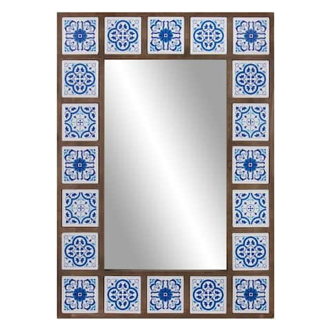 Patton Wall Decor 28x38 Indigo Moroccan Tile Framed Wall Mirror