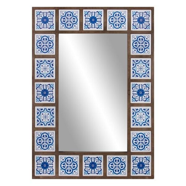 Patton Wall Decor 28x38 Indigo Moroccan Tile Framed Wall Mirror. Opens flyout.