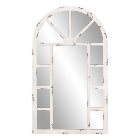 Patton Wall Decor 24x40 Distressed White Arch Windowpane Wall Mirror