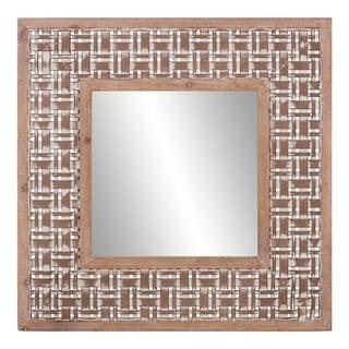 Patton Wall Decor Lattice Woven Wood Square Wall Mirror