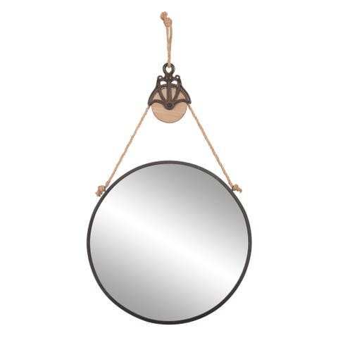 "Patton Wall Decor 24"" Round Metal Wall Mirror with Rope and Pully"
