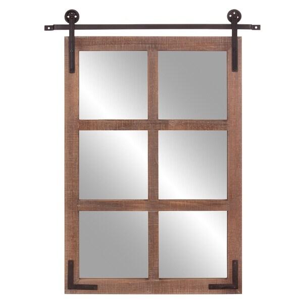 Patton Wall Decor 30x36 Sliding Barn Door Wood Window Wall Mirror
