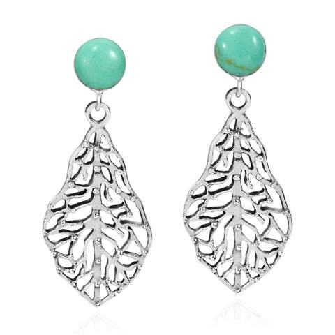 Handmade Unique Simulated Turquoise and Sterling Silver Leaf Dangle Earrings (Thailand)