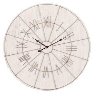 Patton Wall Decor 20 Inch Wood and Metal Roman Numeral Wall Clock