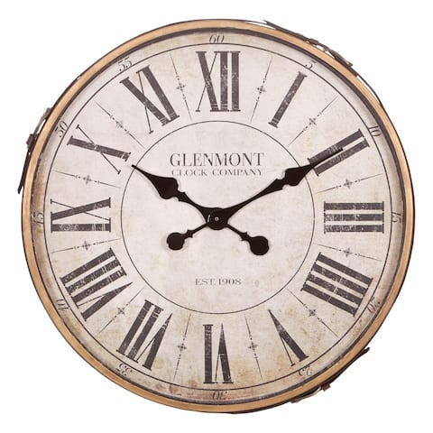 "22"" Glenmont Roman Numeral Wall Clock with Leather Strap and Buckle"