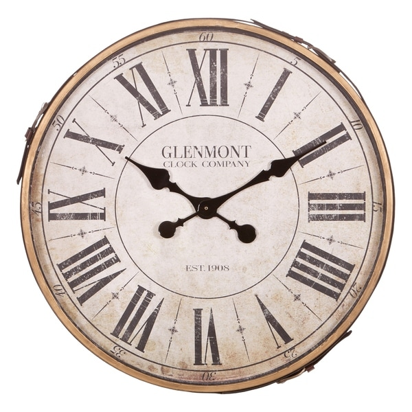 """22"""" Glenmont Roman Numeral Wall Clock with Leather Strap and Buckle"""