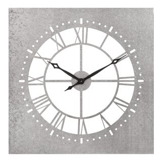 """34"""" Square Galvanized Metal Cut Out Roman Numeral Wall Clock"""