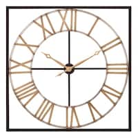 "Patton Wall Decor 36"" Square Metal Cut Out Roman Numeral Wall Clock"