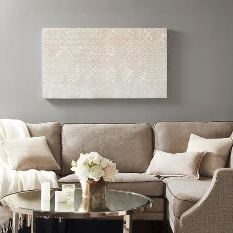 Madison Park Floral Cascade Neutral Heavy Textured Canvas with Glitter Embellishment