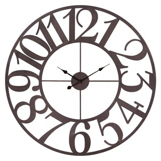 Patton Wall Decor 40 Inch Oversized Bronze Metal Cut Out Wall Clock