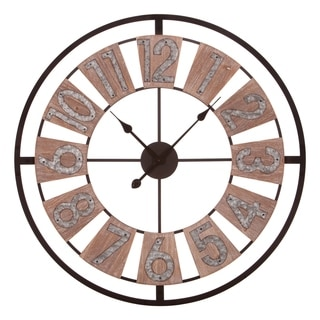 "30"" Wood and Galvanized Metal Windmill Cut Out Wall Clock"