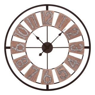 """30"""" Wood and Galvanized Metal Windmill Cut Out Wall Clock"""
