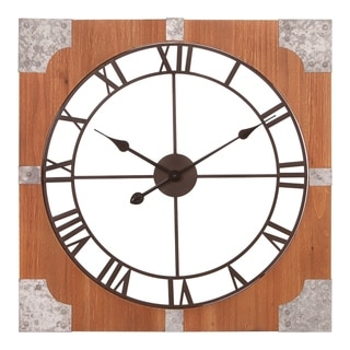 "24"" Square Rustic Wood & Metal Cut Out Roman Numeral Wall Clock"