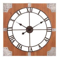 """24"""" Square Rustic Wood & Metal Cut Out Roman Numeral Wall Clock"""