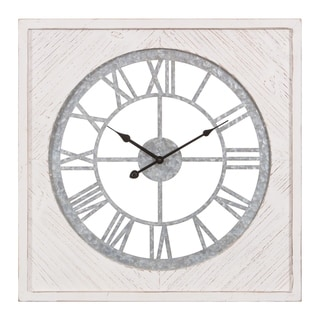 "23"" Square Wood and Galvanized Metal Cut Out Roman Numeral Wall Clock"
