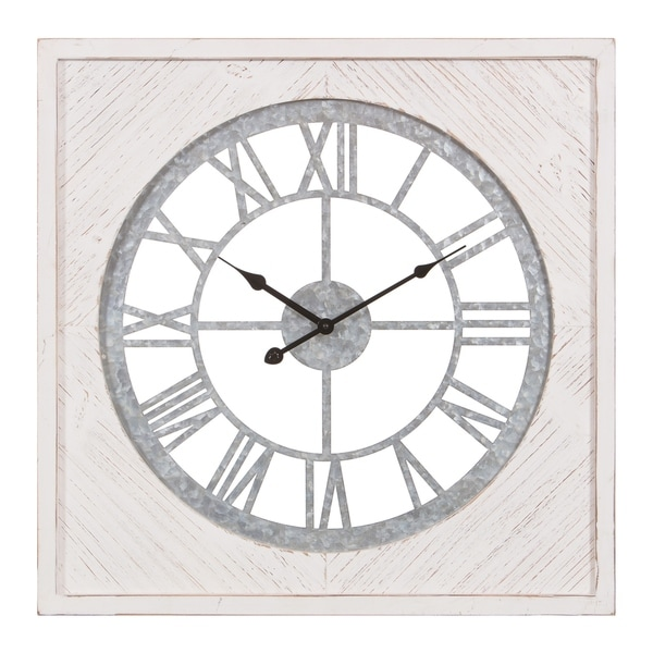 """23"""" Square Wood and Galvanized Metal Cut Out Roman Numeral Wall Clock"""