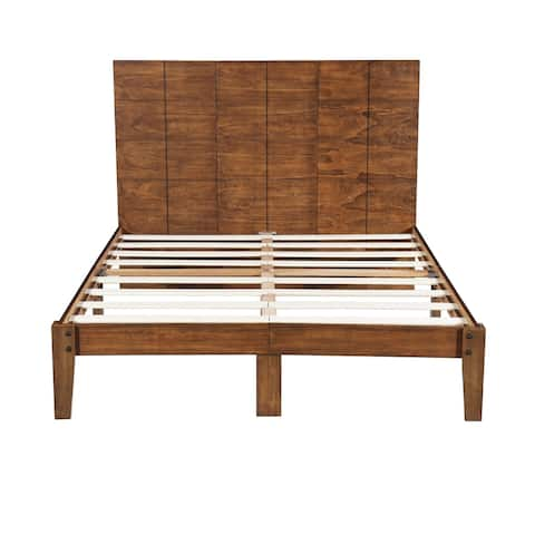 Sleeplanner Rustic Solid Wood Platform Bed Frame with Headboard, No Box Spring Needed