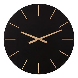Patton Wall Decor 24 Inch Modern Minimalist Black and Gold Wall Clock