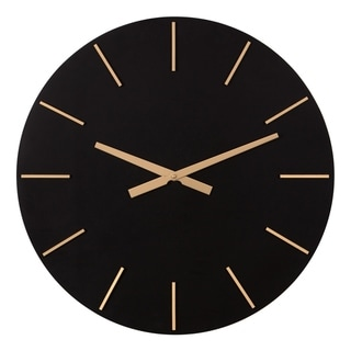 Patton Wall Decor 24 Inch Modern Minimalist Black and Gold Wall Clock