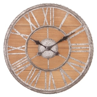 20 Inch Rustic Wood and Galvanized Metal Roman Numeral Wall Clock
