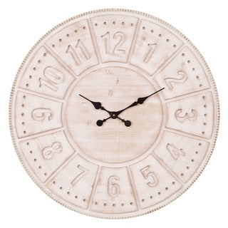 Patton Wall Decor 30 Inch Carved Stained Wood Wall Clock