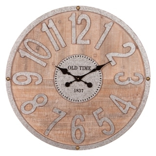 "Patton Wall Decor 32"" Rustic Wood and Galvanized Metal Wall Clock"