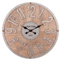 """Patton Wall Decor 32"""" Rustic Wood and Galvanized Metal Wall Clock"""