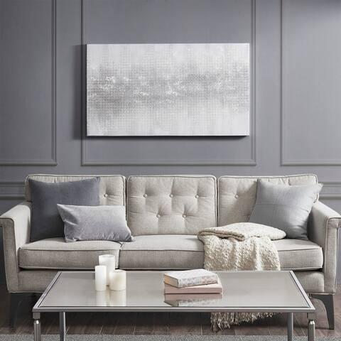 Madison Park Silver Trellis Heavy Textured Canvas with Glitter Embellishment