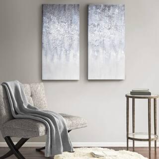 Madison Park 'Winter Glaze' Blue/White with Glitter Embellishment 2-piece Heavy Textured Canvas Art