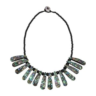 Handmade Tropical Long Pieces Of Mosaic Abalone Shell On Black Bead Statement Necklace Thailand