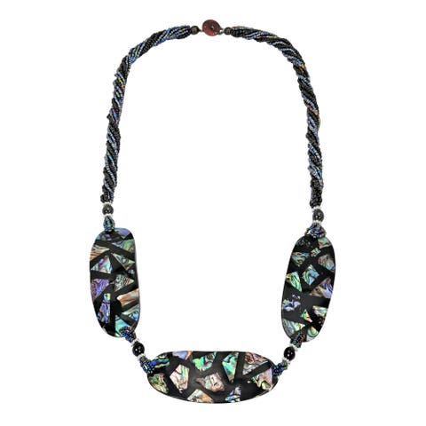 Handmade Stunning Mosaic Trio of Abalone Shell Medallions Statement Necklace (Thailand)