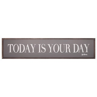 49x11 Dr. Seuss Today Is Your Day Quote Framed Wood Wall Décor - Grey/White