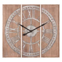 """Patton Wall Decor 38"""" Triptych Pannel Wooden Roman Numeral Wall Clock"""